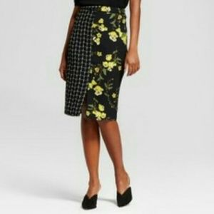 Who What Wear Colorblock Midi Skirt